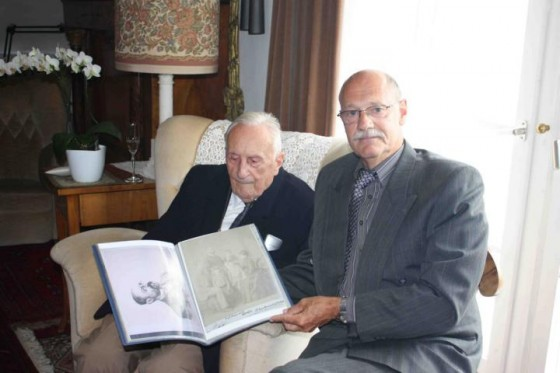 Ernst Blumentritt and Lucien Spittael, holding a folder with Blumentritt memorabilia. Photo courtesy of Lucien Spittael.
