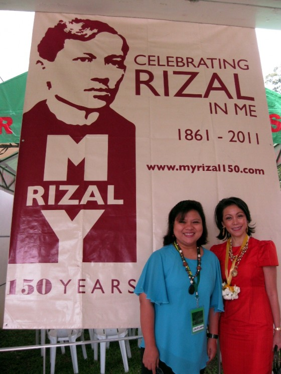 (L-R) Dr. Maria Corazon A. De Ungria and Ms. Lisa Bayot in front of a MyRizal banner at the GT Toyota Center in the University of the Philippines Diliman. Photo taken July 22, 2011. Dr. De Ungria heads the UP Natural Sciences Research Institute's DNA Analysis Laboratory.